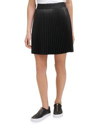 DKNY Faux Leather Pleated Mini Skirt - Black