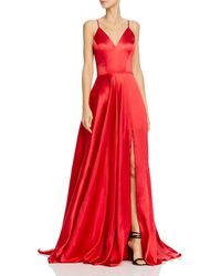 Faviana Charmeuse Lace - Up Gown - Red