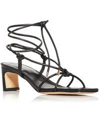 Anine Bing Women's Graham Ankle Tie Mid Heel Sandals - Black