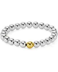 Aqua - Sterling Silver Beaded Stretch Bracelet - Lyst