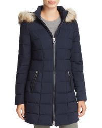 Laundry by Shelli Segal Faux Fur Trim Hooded Puffer Coat - Blue