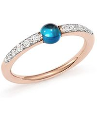 Pomellato - M'ama Non M'ama Ring With London Blue Topaz And Diamonds In 18k Rose Gold - Lyst