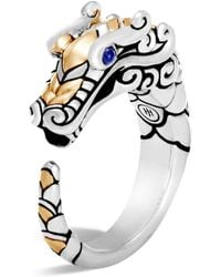 John Hardy - 18k Gold And Sterling Silver Legends Naga Ring With Sapphire - Lyst