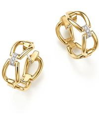 Roberto Coin - 18k Yellow Gold Classic Parisienne Diamond Hoop Earrings - Lyst