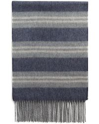 Bloomingdale's Striped Cashmere Scarf - Blue