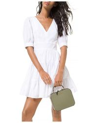 MICHAEL Michael Kors Puff Sleeve Tiered Dress - White