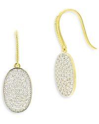 Freida Rothman Pavé Oval Drop Earrings - Metallic