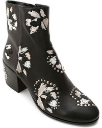 Dolce Vita - Women's Mollie Embroidered Leather Block Heel Booties - Lyst