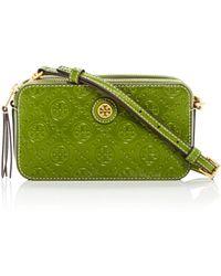 Tory Burch - T Monogram Leather Double-zip Mini Bag - Lyst