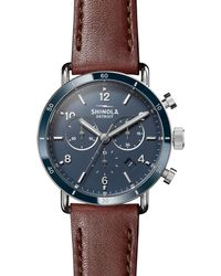 Shinola The Canfield Sport Two-eye Chronograph Watch - Blue