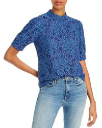 Aqua Puff - Sleeve Lace Top - Blue