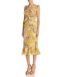 Lucy Paris - Marissa Ruffled Floral Midi Dress - Lyst