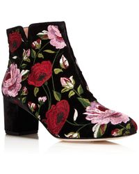 Kate Spade - Lucine Floral Embroidered Velvet Booties - Lyst