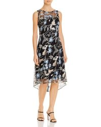 Adrianna Papell Embroidered Lace Midi Dress - Black