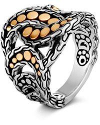 John Hardy Sterling Silver & 18k Yellow Gold Dot Ring - Metallic