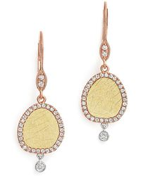 Meira T - Yellow And Rose Gold Dangle Earrings With Diamonds - Lyst