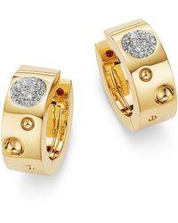 Roberto Coin 18k Yellow Gold Pois Moi Luna Diamond Hoop Earrings - Metallic