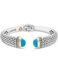 Lagos 18k Yellow Gold & Sterling Silver Caviar Colour Cuff With Turquoise - Metallic