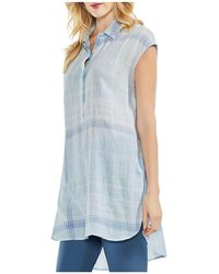 Vince Camuto - Crinkled Plaid Tunic Top - Lyst