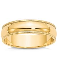 Bloomingdale's Men's 6mm Milgrain Half Round Wedding Band 14k Yellow Gold - Metallic