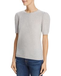 C By Bloomingdale's Puff - Sleeve Cashmere Sweater - Gray