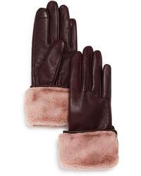 Echo Faux Fur - Cuff Leather Tech Gloves - Multicolour