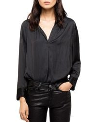 Zadig & Voltaire Tink Satin Tunic Blouse - Black