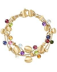 Marco Bicego - 18k Yellow Gold Paradise Teardrop Three Strand Gemstone Bracelet - Lyst