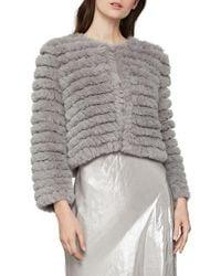 BCBGMAXAZRIA Sophiana Faux Fur Jacket - Grey