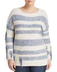 Vince Camuto Signature - Fringe Stripe Sweater - Lyst