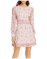Aqua Toile Floral Print Dress - Pink