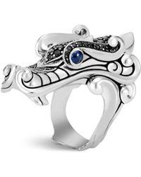 John Hardy - Sterling Silver Legends Naga Black Spinel & Blue Sapphire Eyes Ring - Lyst