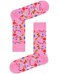 Happy Socks Pink Panther Face Crew Socks