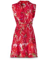 MILLY Nora Floral Smocked Mini Dress - Red