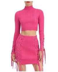 Hervé Léger Variegated Rib Lace Up Crop Top - Pink