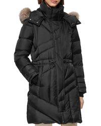 Andrew Marc Cresskill Fur Trim Puffer Coat - Black