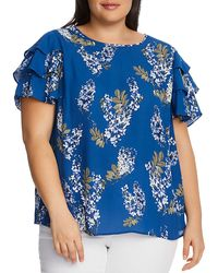 Vince Camuto Signature Weeping Willows Floral Print Tiered - Sleeve Top - Blue