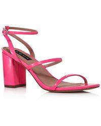 Aqua Women's Maika Block - Heel Leather Sandals - Pink