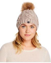 Echo Asiatic Raccoon Fur Pom - Pom Cable - Knit Beanie - Brown