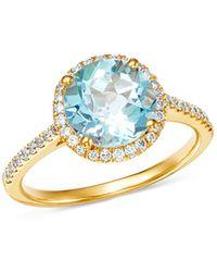Kiki McDonough - 18k Yellow Gold Grace Round Blue Topaz & Diamond Ring - Lyst