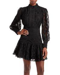 Bardot Remy Balloon - Sleeve Lace Dress - Black
