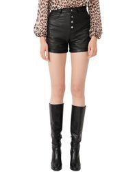 Maje Irine Button Fly Leather Shorts - Black