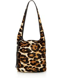 Elizabeth and James - Finley Courier Leopard Print Calf Hair Hobo - Lyst