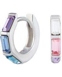 Olivia Burton Rainbow Huggie Hoop Earrings In Sterling Silver - Metallic