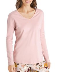 Hanro Ami Cotton Long - Sleeve Top - Pink