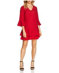 Cece by Cynthia Steffe - Katelyn Three-quarter Sleeve Ruffle Dress - Lyst
