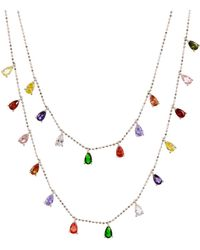 Aqua Multi - Stone Layered Pendant Necklace In Sterling Silver Or Gold - Tone Sterling Silver - Metallic