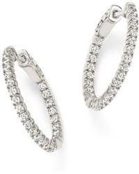 Bloomingdale's - Diamond Inside Out Hoop Earrings In 14k White Gold, 1.0 Ct. T.w. - Lyst