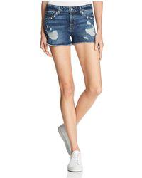 Guess Studded Distressed Denim Shorts In Dark Wash - Blue