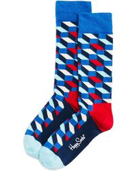 Happy Socks - Faded Diamond-pattern Socks - Lyst